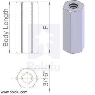 """Separadores en Aluminio Hembra - Hembra 1/4"""" (x4)"""