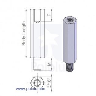 "Separadores de Aluminio Hembra - Macho 1/2"" (x4)"