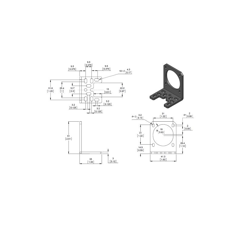 Soporte en aluminio para motores PaP NEMA 17
